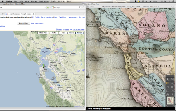 Google Maps and David Rumsey collection–The Bay Area, then and now on