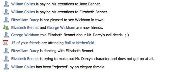 Exerpt from Pride and Prejudice on facebook