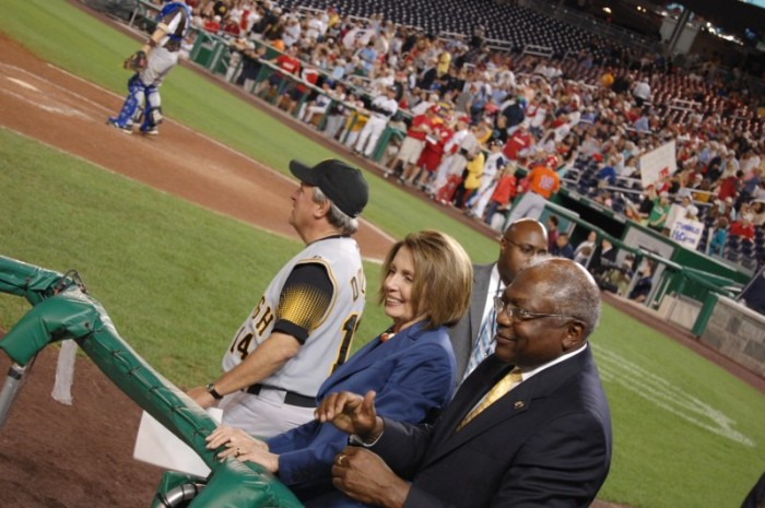 Congresswoman Pelosi and Congressman Clyburn at 2009 Congressional Baseball game