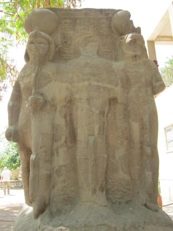 Triad of Memphis (Ptah, Skhemet, Nefretum), New Kingdom, Pink Granite Stone